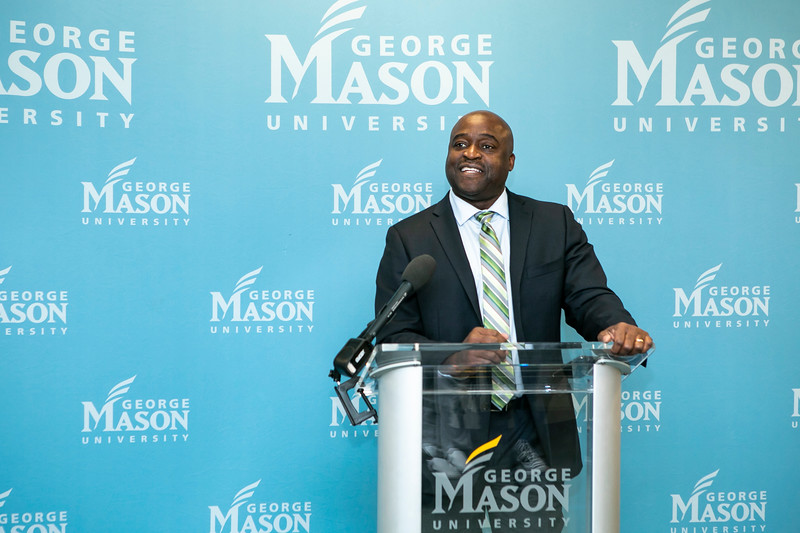 Dr. Gregory Washington speaks during a media availability introducing him as the incoming President of George Mason University.  Photo by:  Ron Aira/Creative Services/George Mason University