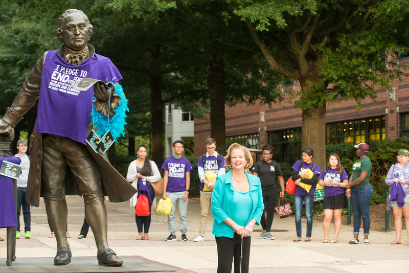 """The Mason Nation community participates in the Fear 2 Freedom program assembling after-care """"fear 2 Freedom Kits"""" for those affected by rape, child abuse, domestic violence, and sex-trafficking. Following the program and discussion, Rosemary Trible, president and founder of Fear 2 Freedom, led students in a moment of silence. #MasonNation  Photo by:  Ron Aira/Creative Services/George Mason University"""
