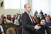 Audience members ask questions of H.E. The Ambassador of Spain, Ramón Gil-Casares during the Freedom and Learning Forum on April 5.  Photo by Ron Aira/Creative Services/George Mason University