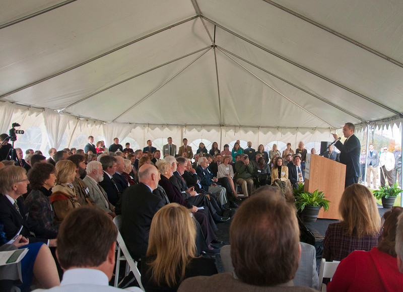 President Angel Cabrera speaks during the Smithsonian-Mason School of Conservation Facility Dedication Ceremony at Front Royal, Virginia on October 18, 2012.