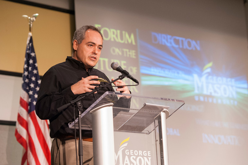 President Ángel Cabera speaks at the Forum on the Future of Higher Education in Dewberry Hall at Fairfax campus. Photo by Alexis Glenn/Creative Services/George Mason University