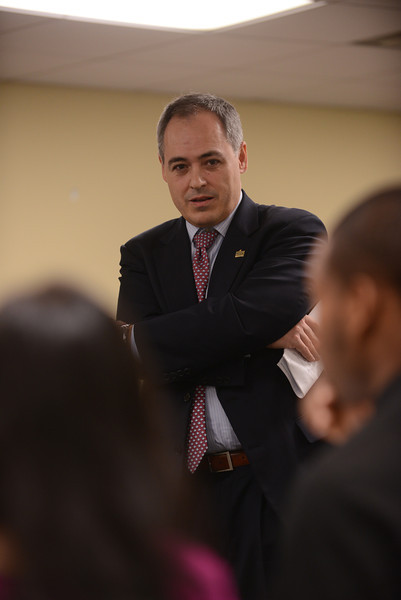 President Cabrera and students read and discuss Martin Luther King, Jr.'s letters from a Birmingham jail. The Presidential Leadership Dialogues were sponsored by Mason L.E.A.D.S.