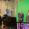 March 8, 2018 President Rodriguez with Michael Castellana on camera introducing The Junior Achievement Stock Market Challenge<br /> <br /> Photo by: Sarah O'Carroll