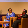UAlbany's 19th President Robert J. Jones, PhD hosts a conversation with race and gender activist Nontombi Naomi Tutu and HIV treatment/AIDS researcher Thandeka Tutu-Gxashe, daughters of Nobel Laureate and renowned South African social rights activist Archbishop Desmond Tutu. Photographer: Paul Miller