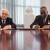 President Jones signs a Memo-of-Understanding with Rector Juan Tobias of the Universidad del Salvador in Argentina to continue the relationship between the two universities.  Photographer: Paul Miller