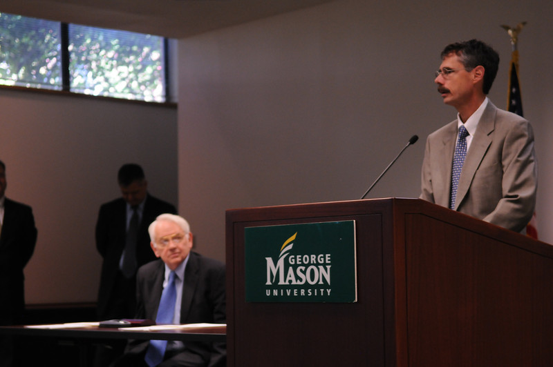 A memorandum of understanding to initiate George Squared was signed by Howard Federoff, executive vice president for health sciences and executive dean of the School of Medicine at Georgetown; Peter Stearns, Mason provost; and Maurice Scherrens, Mason senior vice president. A ceremony was held on Mason's Fairfax Campus on Friday, Sept. 4, to commemorate the signing.