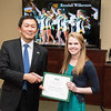 Kendall Wilkerson. Dr. David Wu presents the 2016 Peter N. Stearns Provost Scholar Athlete Awards.  Photo by Ron Aira/Creative Services/George Mason University