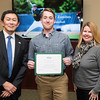 Tyler Zombro and Dr. Julie Owen. Dr. David Wu presents the 2016 Peter N. Stearns Provost Scholar Athlete Awards.  Photo by Ron Aira/Creative Services/George Mason University