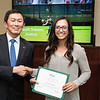Sarah Solano. Dr. David Wu presents the 2016 Peter N. Stearns Provost Scholar Athlete Awards.  Photo by Ron Aira/Creative Services/George Mason University