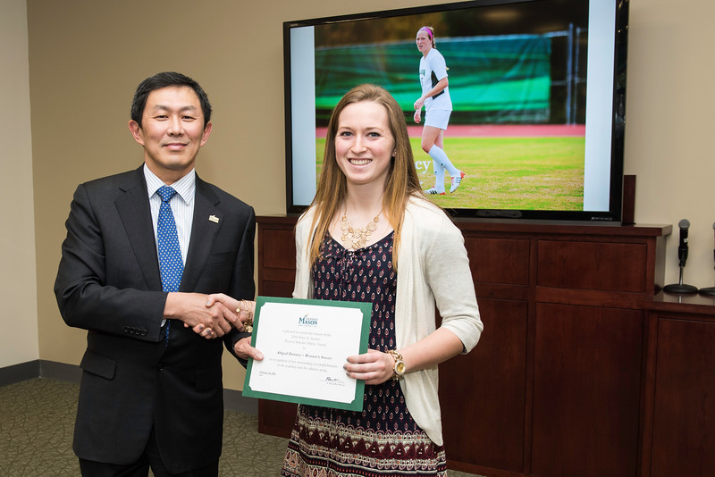 Abigail Downey . Dr. David Wu presents the 2016 Peter N. Stearns Provost Scholar Athlete Awards.  Photo by Ron Aira/Creative Services/George Mason University