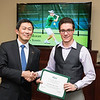 John Moran. Dr. David Wu presents the 2016 Peter N. Stearns Provost Scholar Athlete Awards.  Photo by Ron Aira/Creative Services/George Mason University