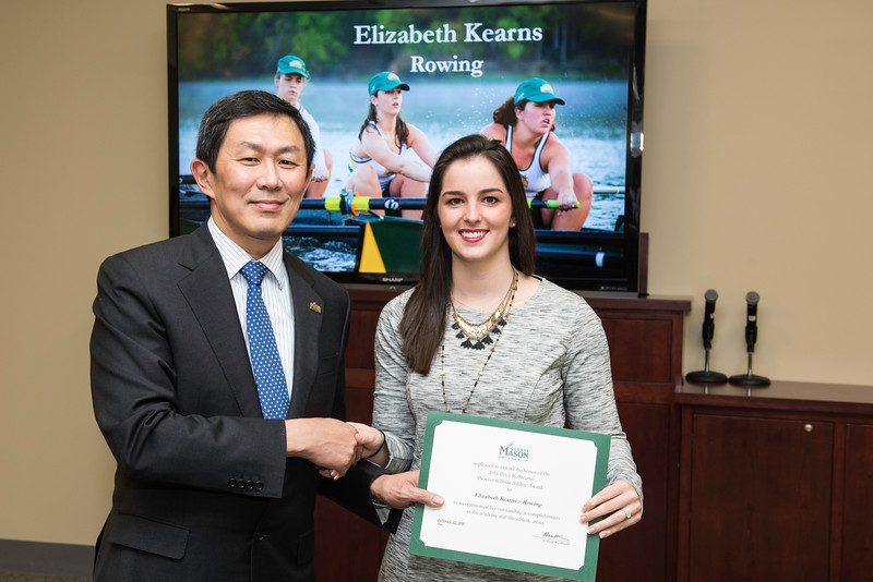 Elizabeth Kearns. Dr. David Wu presents the 2016 Peter N. Stearns Provost Scholar Athlete Awards.  Photo by Ron Aira/Creative Services/George Mason University