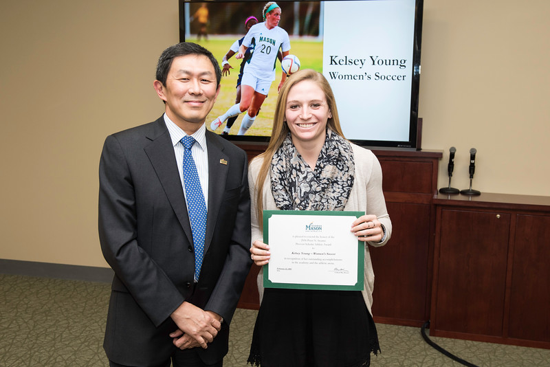Kelsey Young. Dr. David Wu presents the 2016 Peter N. Stearns Provost Scholar Athlete Awards.  Photo by Ron Aira/Creative Services/George Mason University
