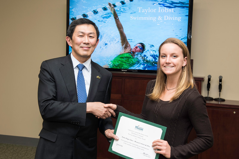 Taylor-Paige Iobst. Dr. David Wu presents the 2016 Peter N. Stearns Provost Scholar Athlete Awards.  Photo by Ron Aira/Creative Services/George Mason University