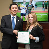 Lindsey Tangeman. Dr. David Wu presents the 2016 Peter N. Stearns Provost Scholar Athlete Awards.  Photo by Ron Aira/Creative Services/George Mason University