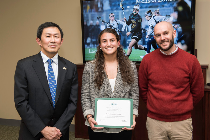 Melissa Lobaccaro and Dr. David Lattanzi. Dr. David Wu presents the 2016 Peter N. Stearns Provost Scholar Athlete Awards.  Photo by Ron Aira/Creative Services/George Mason University