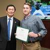 Tyler Zombro. Dr. David Wu presents the 2016 Peter N. Stearns Provost Scholar Athlete Awards.  Photo by Ron Aira/Creative Services/George Mason University