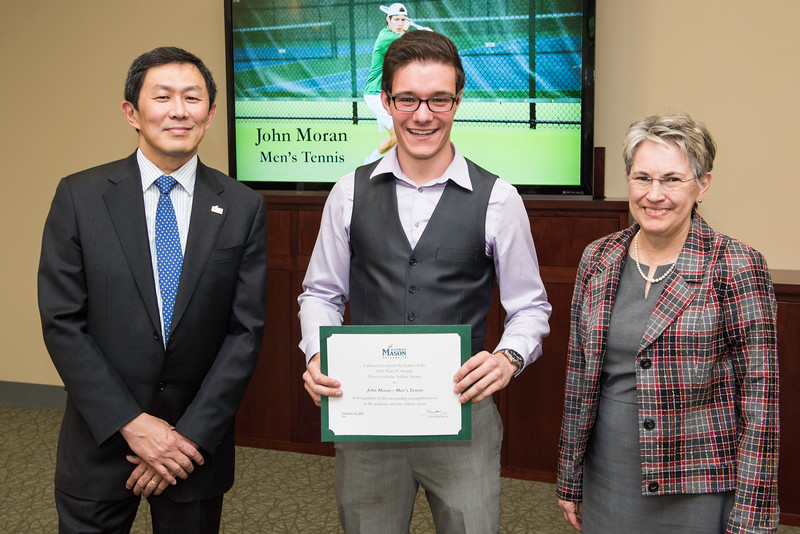 John Moran and Dr. Kathy Alligood. Dr. David Wu presents the 2016 Peter N. Stearns Provost Scholar Athlete Awards.  Photo by Ron Aira/Creative Services/George Mason University