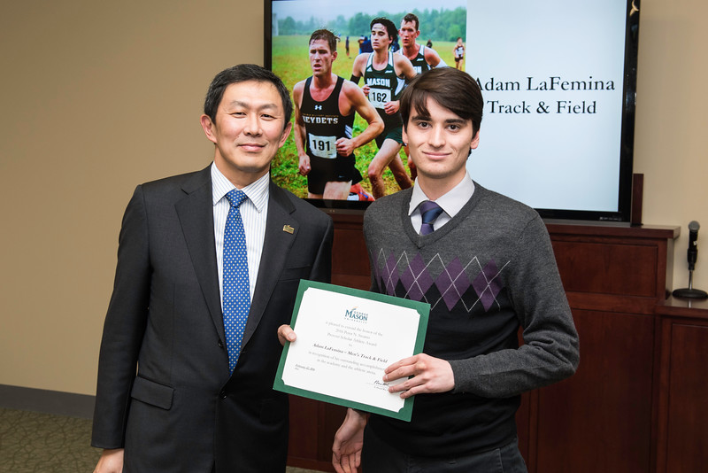 Adam LaFemina. Dr. David Wu presents the 2016 Peter N. Stearns Provost Scholar Athlete Awards.  Photo by Ron Aira/Creative Services/George Mason University