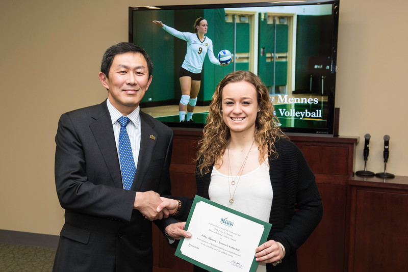 Ashley Mennes. Dr. David Wu presents the 2016 Peter N. Stearns Provost Scholar Athlete Awards.  Photo by Ron Aira/Creative Services/George Mason University