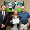 Lindsey Tangeman and Dr. Star Muir. Dr. David Wu presents the 2016 Peter N. Stearns Provost Scholar Athlete Awards.  Photo by Ron Aira/Creative Services/George Mason University