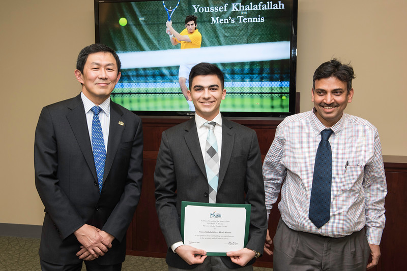Youssef Khalafallah and Dr Krishnamurthy Vemuru. Dr. David Wu presents the 2016 Peter N. Stearns Provost Scholar Athlete Awards.  Photo by Ron Aira/Creative Services/George Mason University