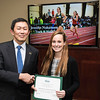 Jennifer Nakamura. Dr. David Wu presents the 2016 Peter N. Stearns Provost Scholar Athlete Awards.  Photo by Ron Aira/Creative Services/George Mason University