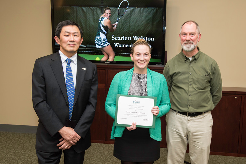 Scarlett Walston and Dr. Charles Leonard. Dr. David Wu presents the 2016 Peter N. Stearns Provost Scholar Athlete Awards.  Photo by Ron Aira/Creative Services/George Mason University