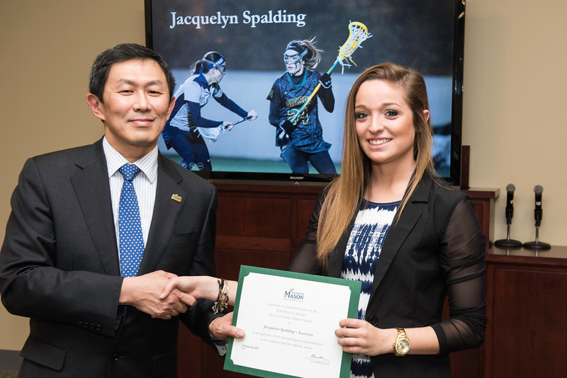 Jacquelyn Spalding. Dr. David Wu presents the 2016 Peter N. Stearns Provost Scholar Athlete Awards.  Photo by Ron Aira/Creative Services/George Mason University