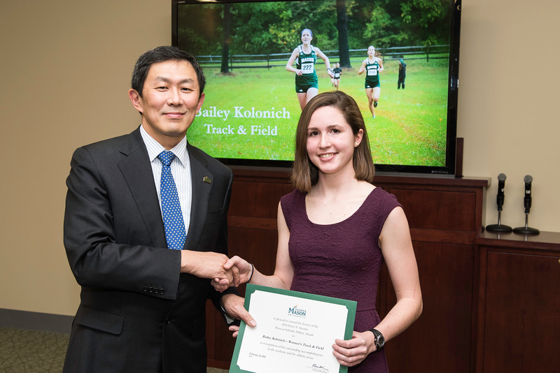 Bailey Kolonich. Dr. David Wu presents the 2016 Peter N. Stearns Provost Scholar Athlete Awards.  Photo by Ron Aira/Creative Services/George Mason University