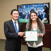Melissa Lobaccaro. Dr. David Wu presents the 2016 Peter N. Stearns Provost Scholar Athlete Awards.  Photo by Ron Aira/Creative Services/George Mason University