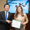Erin Schulte. Dr. David Wu presents the 2016 Peter N. Stearns Provost Scholar Athlete Awards.  Photo by Ron Aira/Creative Services/George Mason University
