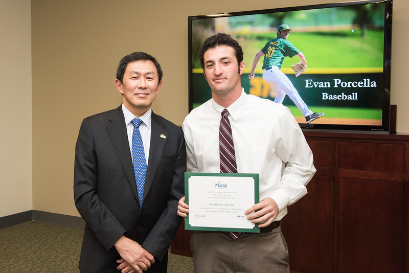 Evan Porcella. Dr. David Wu presents the 2016 Peter N. Stearns Provost Scholar Athlete Awards.  Photo by Ron Aira/Creative Services/George Mason University