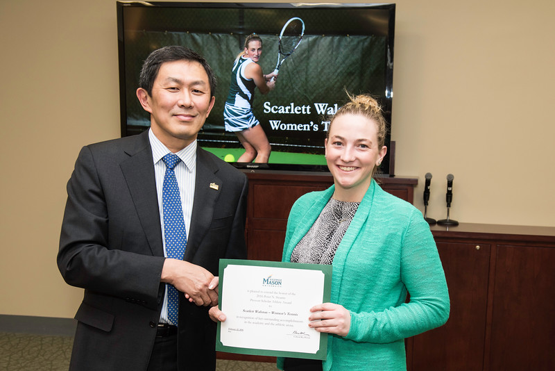 Scarlett Walston. Dr. David Wu presents the 2016 Peter N. Stearns Provost Scholar Athlete Awards.  Photo by Ron Aira/Creative Services/George Mason University