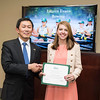 Lauren Evans. Dr. David Wu presents the 2016 Peter N. Stearns Provost Scholar Athlete Awards.  Photo by Ron Aira/Creative Services/George Mason University