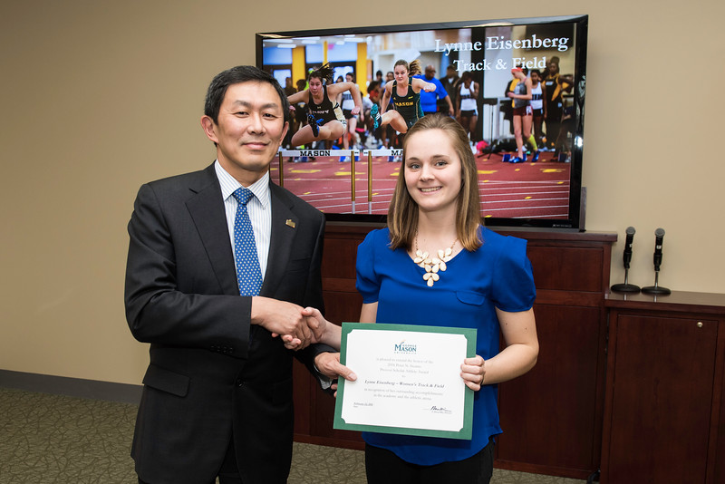 Lynne Eisenberg. Dr. David Wu presents the 2016 Peter N. Stearns Provost Scholar Athlete Awards.  Photo by Ron Aira/Creative Services/George Mason University