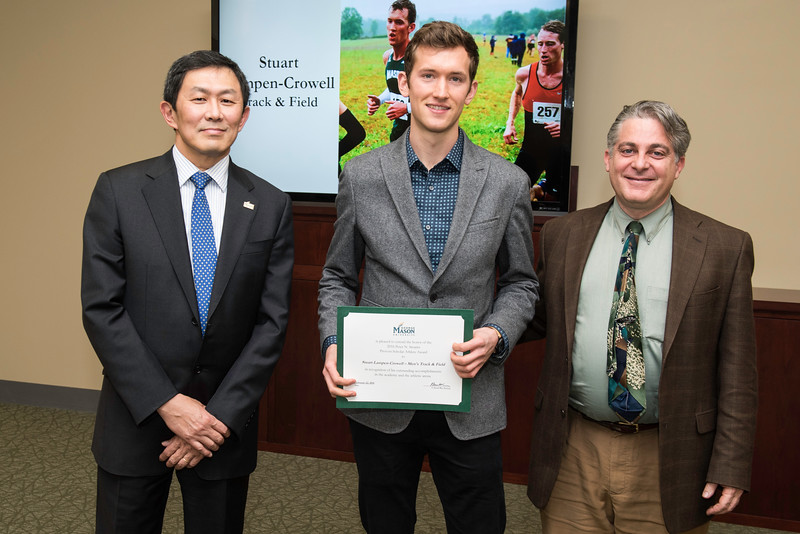 Stuart Lampen-Crowell and Dr. Dann Sklarew. Dr. David Wu presents the 2016 Peter N. Stearns Provost Scholar Athlete Awards.  Photo by Ron Aira/Creative Services/George Mason University