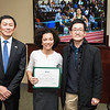 Sharon Dorsey and Dr. Changwoo Ahn. Dr. David Wu presents the 2016 Peter N. Stearns Provost Scholar Athlete Awards.  Photo by Ron Aira/Creative Services/George Mason University
