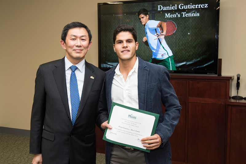 Daniel Gutierrez. Dr. David Wu presents the 2016 Peter N. Stearns Provost Scholar Athlete Awards.  Photo by Ron Aira/Creative Services/George Mason University
