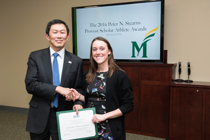 Suzanne Abribat. Dr. David Wu presents the 2016 Peter N. Stearns Provost Scholar Athlete Awards.  Photo by Ron Aira/Creative Services/George Mason University