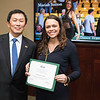 Mariah Sutton. Dr. David Wu presents the 2016 Peter N. Stearns Provost Scholar Athlete Awards.  Photo by Ron Aira/Creative Services/George Mason University