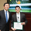 Youssef Khalafallah. Dr. David Wu presents the 2016 Peter N. Stearns Provost Scholar Athlete Awards.  Photo by Ron Aira/Creative Services/George Mason University