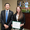 Kelli Beard. Dr. David Wu presents the 2016 Peter N. Stearns Provost Scholar Athlete Awards.  Photo by Ron Aira/Creative Services/George Mason University