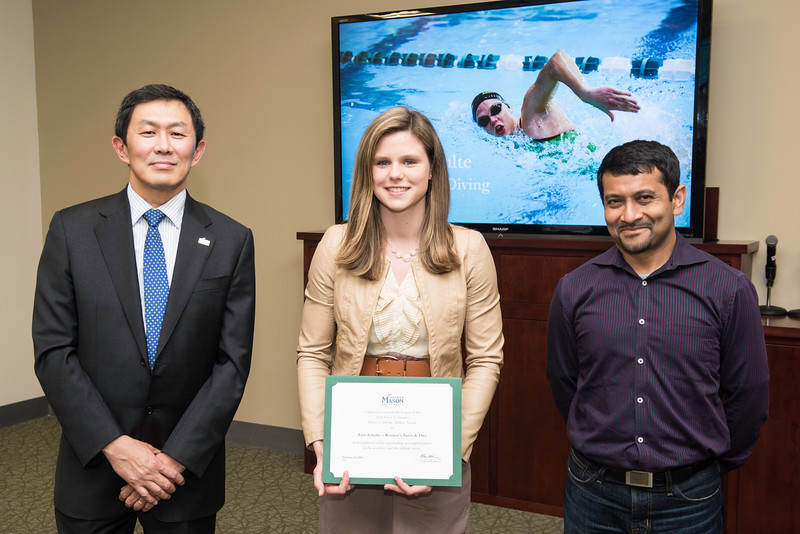 Erin Schulte and Siddhartha Sikdar. Dr. David Wu presents the 2016 Peter N. Stearns Provost Scholar Athlete Awards.  Photo by Ron Aira/Creative Services/George Mason University
