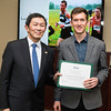 Stuart Lampen-Crowell. Dr. David Wu presents the 2016 Peter N. Stearns Provost Scholar Athlete Awards.  Photo by Ron Aira/Creative Services/George Mason University