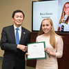 Kira Greer. Dr. David Wu presents the 2016 Peter N. Stearns Provost Scholar Athlete Awards.  Photo by Ron Aira/Creative Services/George Mason University