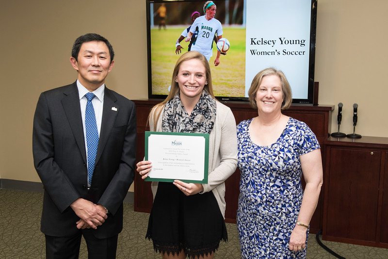 Kelsey Young and Dr. Catherine Wright. Dr. David Wu presents the 2016 Peter N. Stearns Provost Scholar Athlete Awards.  Photo by Ron Aira/Creative Services/George Mason University