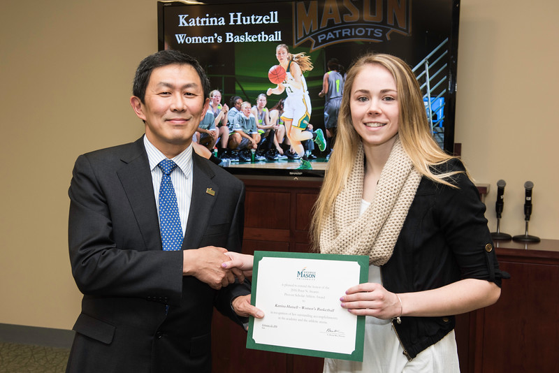 Katrina Hutzell. Dr. David Wu presents the 2016 Peter N. Stearns Provost Scholar Athlete Awards.  Photo by Ron Aira/Creative Services/George Mason University