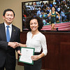 Sharon Dorsey. Dr. David Wu presents the 2016 Peter N. Stearns Provost Scholar Athlete Awards.  Photo by Ron Aira/Creative Services/George Mason University