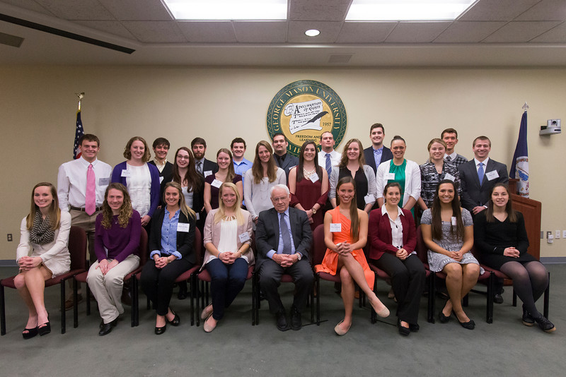 Annual Scholar Athlete Awards with Provost Peter Stearns in Mason Hall.
